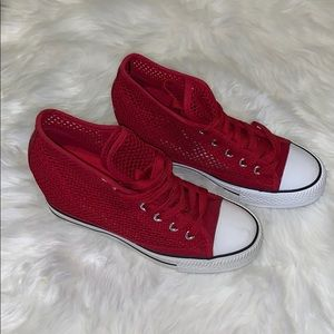 Shoes - Red high top wedge sneakers
